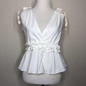 Endless Rose deep V peplum sleeveless blouse